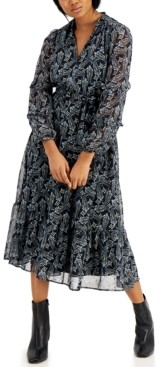 Marella Paisley-Print Puff-Sleeve Dress
