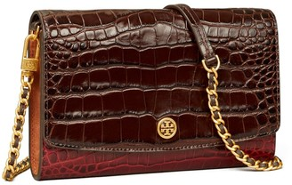 Tory Burch Robinson Embossed Color-Block Chain Wallet