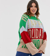 Asos DESIGN Curve christmas embellished oversized sweater