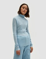 Organic by John Patrick LS Roll Neck in Blue