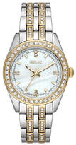 Fossil Relic By Iva Womens Crystal Accent Two Tone Bracelet Watch-Zr34536 Family