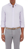 Barba MEN'S CHECKED POPLIN SHIRT-LIGHT PURPLE SIZE L