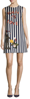 Dolce & Gabbana Striped And Embroidered Shift Dress