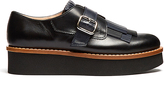 Tod's Fringed leather flatform monk-strap shoes