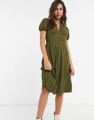 Vila lace button through dress in khaki