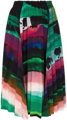 Issey Miyake Graphic-Print Plisse Midi Skirt