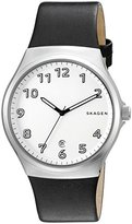 Skagen Men's 'Sundby' Quartz Stainless Steel and Black Leather Casual Watch (Model: SKW6268)