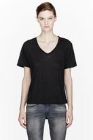 R13 Black Cotton-Cashmere V-Neck tshirt