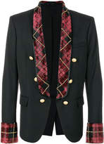 Balmain tartan-trimmed blazer