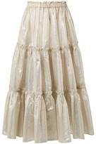 Lisa Marie Fernandez Tiered Cotton-blend Lame Midi Skirt