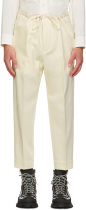 Jil Sander Off-White Wool Flannel Cropped Trousers