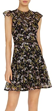 ML Monique Lhuillier Embroidered Fit-and-Flare Dress