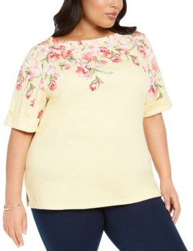 Karen Scott Plus Size Floral-Print Top, Created for Macy's