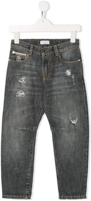 BRUNELLO CUCINELLI KIDS Distressed Slim-Fit Jeans