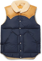 Rocky Mountain Featherbed Christy Leather-Trimmed Quilted Nylon Down Gilet