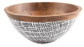 "Thirstystone Closeout! Modern Global 11"" Wood & Enamel Salad Bowl"