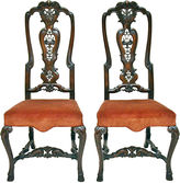 One Kings Lane Vintage Hand-Carved Slat-Back Chairs, Pair