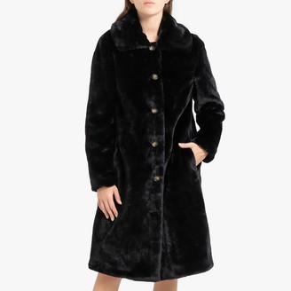 Oakwood Program Long Faux Fur Coat with Buttons and Leopard Print
