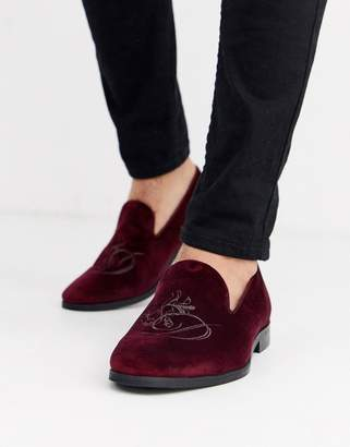 Dune velvet loafer in burgundy-Red