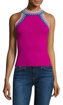 Milly Woven Trim Halter Top