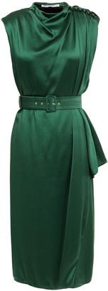Emilia Wickstead Janice Belted Draped Satin-crepe Midi Dress