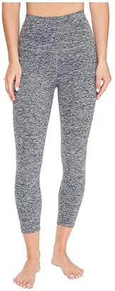 Beyond Yoga Spacedye High Waisted Capri Leggings (Black/White Spacedye) Women's Casual Pants