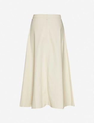 Samsoe & Samsoe Rowena high-waist organic cotton-twill midi skirt
