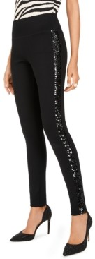 INC International Concepts Inc Petite Sequin-Trim Pull-On Ponte Pants, Created for Macy's