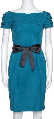 Carolina Herrera Teal Houndstooth Pattern Embossed Sheath Dress S