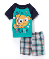 Children's Apparel Network Finding Nemo Teal Tee & Plaid Shorts - Infant