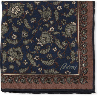 Brioni Floral Paisley Silk Pocket Square