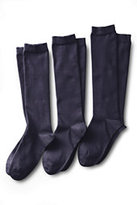 Classic Women's Seamless Toe Solid Cotton Blend Trouser Socks (3-pack)-True Navy