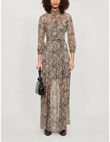 Veronica Beard Ascot snakeskin-print silk-blend maxi dress