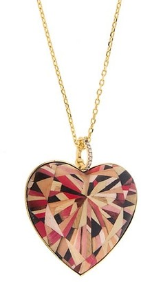 Silvia Furmanovich Marquetry 18K Yellow Gold, Diamond & Wood Geometric Large Heart Pendant Necklace