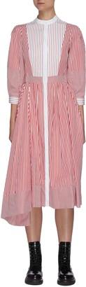 Alexander McQueen Cocoon Sleeve Asymmetric Hem Stripe Shirt Dress