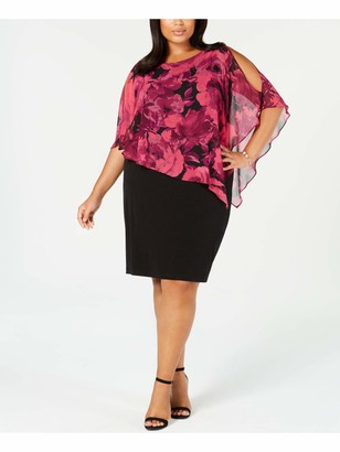 Connected Apparel Womens Red Floral Petal Sleeve Jewel Neck Knee Length Sheath Formal Dress Plus US Size: 18W