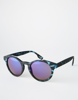 Jeepers Peepers Round Sunglasses With Flash Lens - Blue