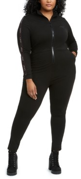 Lala Anthony Trendy Plus Size Fitted Track Jumpsuit, Created for Macy's