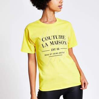 River Island Womens Yellow printed diamante short sleeve T-shirt