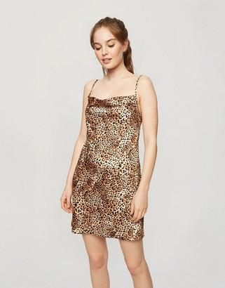 Miss Selfridge satin mini dress in leopard print