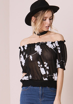 Missy Empire Alessandra Black Floral Embroided Bardot Top