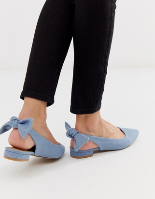 Asos Design DESIGN Lizzie bow slingback ballet flats in denim