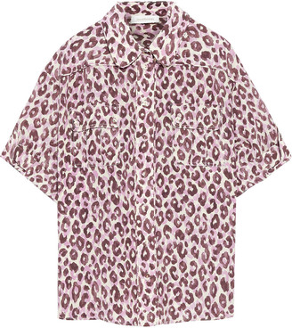 Zimmermann Super Eight Leopard-print Silk Crepe De Chine Shirt