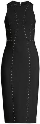Michael Kors Studded Stretch Pebble Crepe Sheath Dress