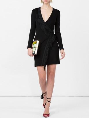 Galvan wrap fringe detail dress black