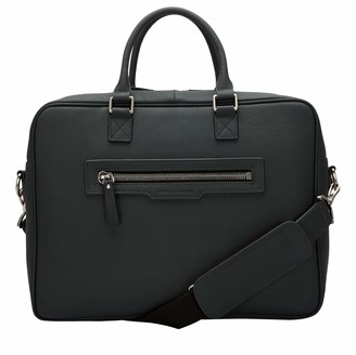 Smith & Canova Mens Twin Strap Briefcase Top-Handle Bag Black (Black)