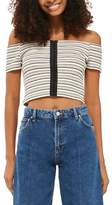 Topshop Stripe Off the Shoulder Crop Top