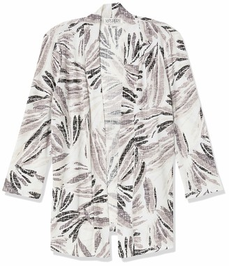 Kasper Women's Abstract Leaf Pique Edge Cardigan