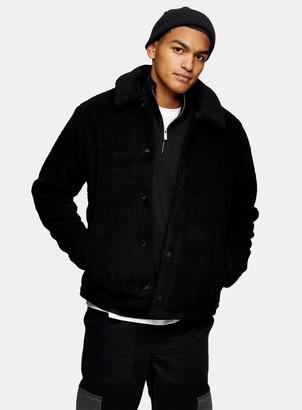 Topman Black Borg Shetland Coach Jacket