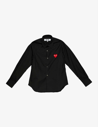 Comme des Garcons Heart-embroidered cotton-poplin shirt